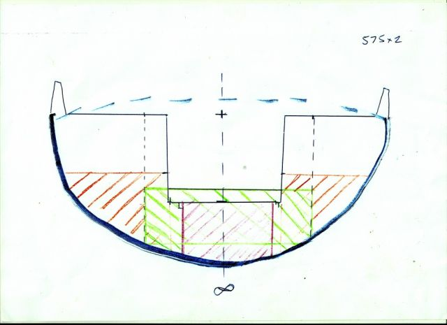 Centaur well cross section from the stern